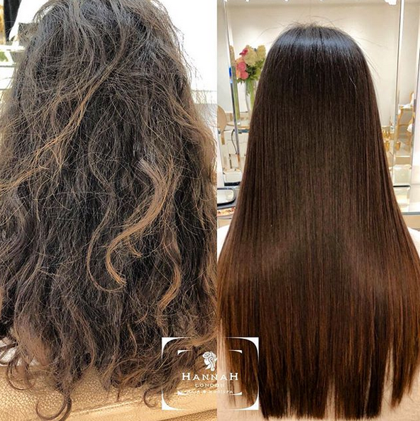 kerastraight at hannah london before and after side by side comparison of female client with long brown hair