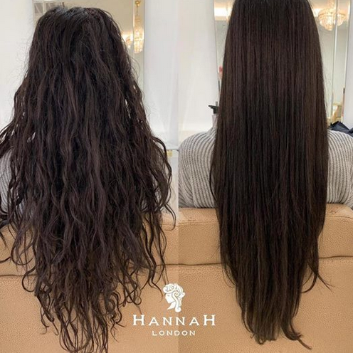 kerastraight at hannah london before and after side by side comparison of female client with long black hair