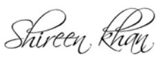 Shireen Khan Founder signature